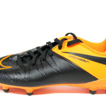 Nike Jr Youth's Hypervenom Phelon II TC FG Black/Orange Soccer Cleats
