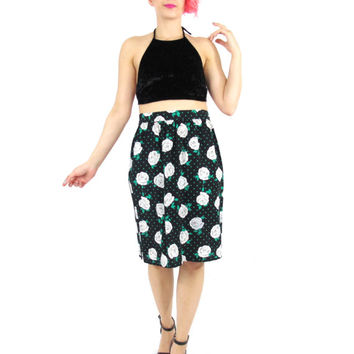 80s High Waist Floral Skirt Polka Dot Pencil Skirt Green Black Floral Skirt Rose Print Skirt Gathered Knee Length Midi Skirt Pockets (L/XL)