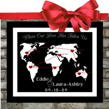 The Story of Us. Long Distance Relationship History. Custom Wedding Gift. Map. Engagement, 1st. 50th. Anniversary Gift . Gender Neutral