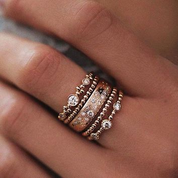 Boho Retro Lots 5pcs Crystal Rose Gold Stackable Ring Sparkly Rings Jewelry