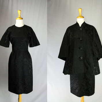 Vintage 1950s Brocade Cocktail Dress and Coat Set Black