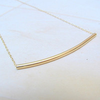 Gold curved tube necklace, gold tube necklace, small tube necklace, gold necklace, delicate gold necklace