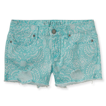 Paisley Print Destroyed Midi Shorts