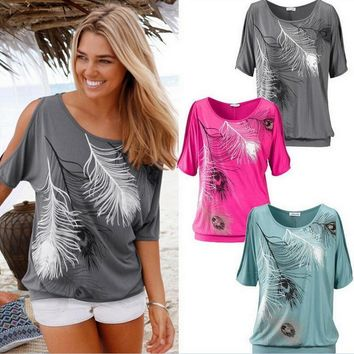 Fashion print feather off shoulder round neck short sleeve (4 color)