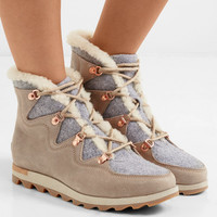 Sorel - Sneakchic Alpine shearling-lined felt and suede ankle boots
