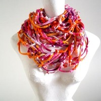 Vivacious Pink Koi Orange Infinity Scarf Pantone Fall Fashion Colors Upcycled Raspberry Tangerine Multicolor Knotty Bits Art Scarf
