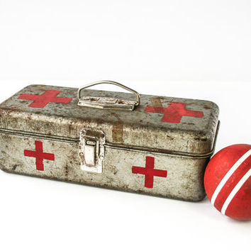 Vintage First Aid Box / Toolbox / Industrial Storage Box