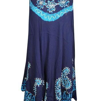 Womens Blue Batik Paisley Embroidered Tank Dress Sleeveless Flare Beach Wear Bikini Cover Up Dress S