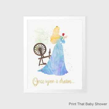 Sleeping Beauty Wall Art - Disney Nursery Decor - Nursery Art, Sleeping Beauty Kids Wall Art, Nursery Wall Decor, Watercolor Sleeping Beauty