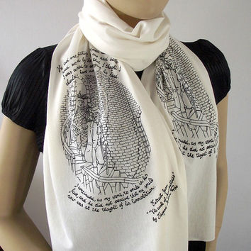 CUSTOM Quote Scarf Text Scarf - Choose Your Color - Handprinted Scarf Text Scarf Literary Scarf Book Lovers Scarf