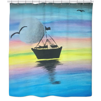 Rainbow Sky Shower Curtain With Boat Silhouette