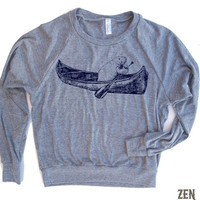 Womens MANATEE In A Canoe TriBlend Grey Pullover by ZenThreads