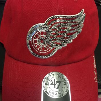 ONETOW NHL 47 Brand Detroit Red Wings Women's Red Sparkle Team Clean Up Hat