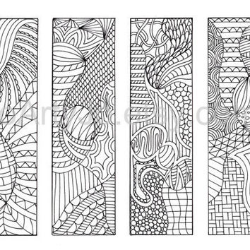 Zentangle Inspired Bookmarks DIY Printable Coloring by JoArtyJo