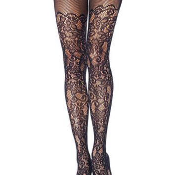 Baroque Lace Netted Pantyhose
