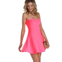 Knock Out Neon Pink Skater Dress