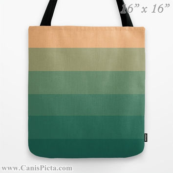 """Ombre """"Peach Green Tea"""" 13x13 Graphic Print Tote Bag Emerald Orange Jade Color Fade 16x16 18x18 Gift Her Him Spring Summer Back to School"""
