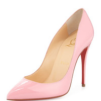 Christian Louboutin Pigalle Follies Patent Point-Toe Red Sole Pump, Rose