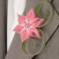Pink and Sage Green Flower Boutonniere, Groomsmen Gift, Pink and Green Wedding, Country Wedding, Rustic Boutonniere
