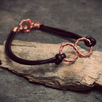 Infinity Bracelet - Copper Leather Infinity Bracelet - Unisex Bracelet - Brown Leather