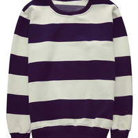 Stripe Pattern Pullover Sweatshirt For Man