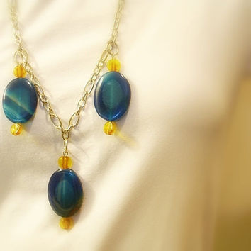 Women's Blue Agate Necklace, Yellow Glass Beads, Bold Bohemian, Chunky Silver Metal Chain, Lobster Clasp