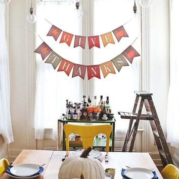 GIVE THANKS Paper Banner Thanksgiving Day Decorations Swallowtail Flag Bunting Hanging Garland Maple Leaf Pumpkin Event Party Fa