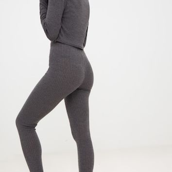 Charcoal Rib Roll Neck Legging Set