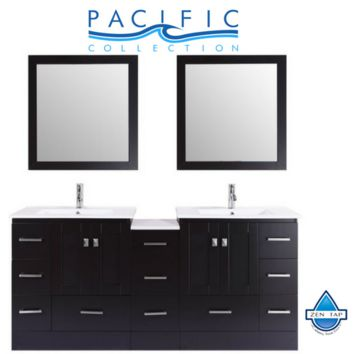 "72"" Redondo Espresso Double Modern Bathroom Vanity with Side Cabinet and Integrated Sinks - Plus"