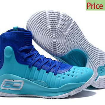 Cheap Priced 2018 Mens Under Armour Curry 4 Mid Basketball Shoes Royal Blue Sky Blue White sneaker