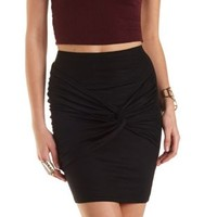 Black Ruched & Knotted Bodycon Mini Skirt by Charlotte Russe