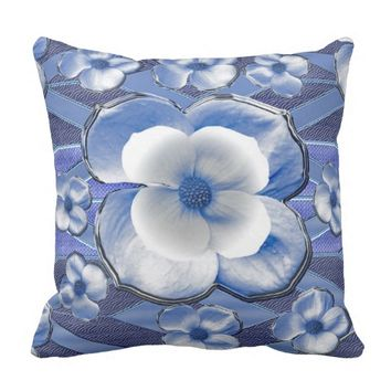 Blue Dogwood Flowers Throw Pillow