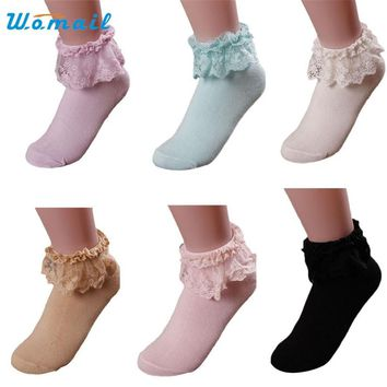 Womail The most Women Vintage Lace Ruffle Frilly Ankle Socks Princess Girl Cotton Sock