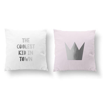 SET of 2 Pillows, The Coolest Kid In Town, Crown Pillow, Kids Pillow, Cushion Cover, Throw Pillow, Gold Decorative Pillow, Nursery Decor,