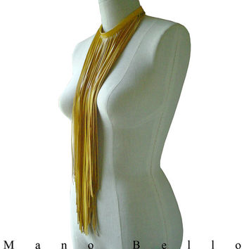Long Leather Fringe Choker Necklace, Bib or Scarf, Yellow, made to order