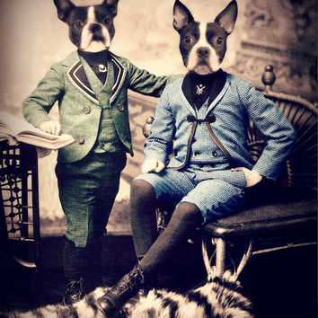 "Dog Art Print, Boston Terrier Art, Mixed Media Collage, ""Boston Brothers"" 8 x 10 Vintage Sepia Photography, Watchful Crow"