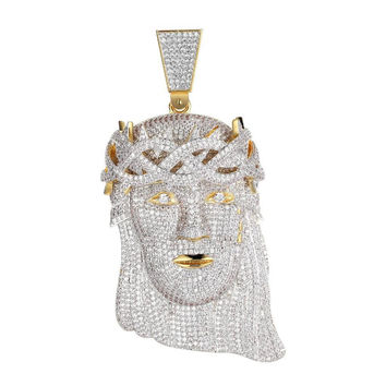 """Men Hip Hop Gold Finish Full Iced Out Jesus Piece Pendant 4.0"""" Simulated Diamond"""