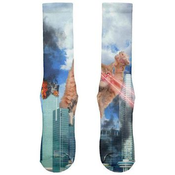 LMFCY8 Giant Cat Laser Rampage and Destroy All Over Soft Socks