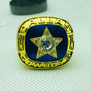 Hot Sale 1975 Dallas Cowboy Championship Ring High Quality Ring and Fine Wooden Gift Box Classic Commemorative Gift
