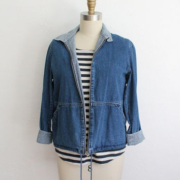 Vintage 90s Soft Denim Jacket // Women's Railroad Stripe Lightweight Zip Up
