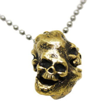 Laughing Skulls Bronze Necklace