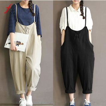 Women Loose Casual Baggy Jumpsuit Bib Pants Trousers Overall Harnes Pants loose jumpsuit strap belt trousers overall pants