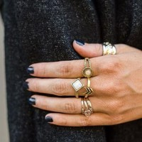 Iridescent Stone Rings - Gold