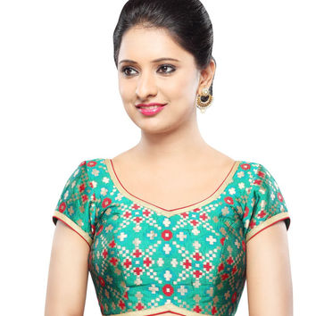 Designer Green  Patola Back Open Ready-made Saree Blouse Choli SNT X-355-SL