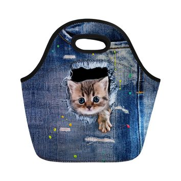 Cat Print Blue Denim Thermal Insulated Lunch Bags 7 Styles