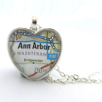 Ann Arbor Map Necklace, Heart Pendant with Chain, Michigan, Silver or Bronzed