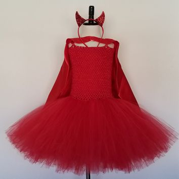 Devil Tutu Dress with Cape, Horns and Tail