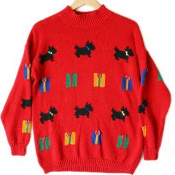 Shop Now! Ugly Sweaters: Scottie Dogs and Gifts Oversized Slouch Tacky Ugly Christmas Sweater Women's Medium/Large (M/L) $20 - The Ugly Sweater Shop