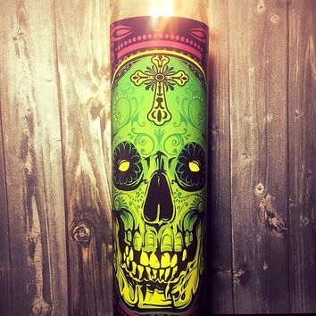 Sugar Skull, Day of the Dead, Skull Decor, Dia De Los Muertos, Calavera, Prayer Candle, Gift Idea,  Gifts for Him,  Best Scented Candles,