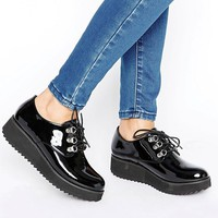 London Rebel Metal Trim Flatform Lace up at asos.com
